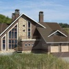 проект дома в стиле шале с двумя гаражами.