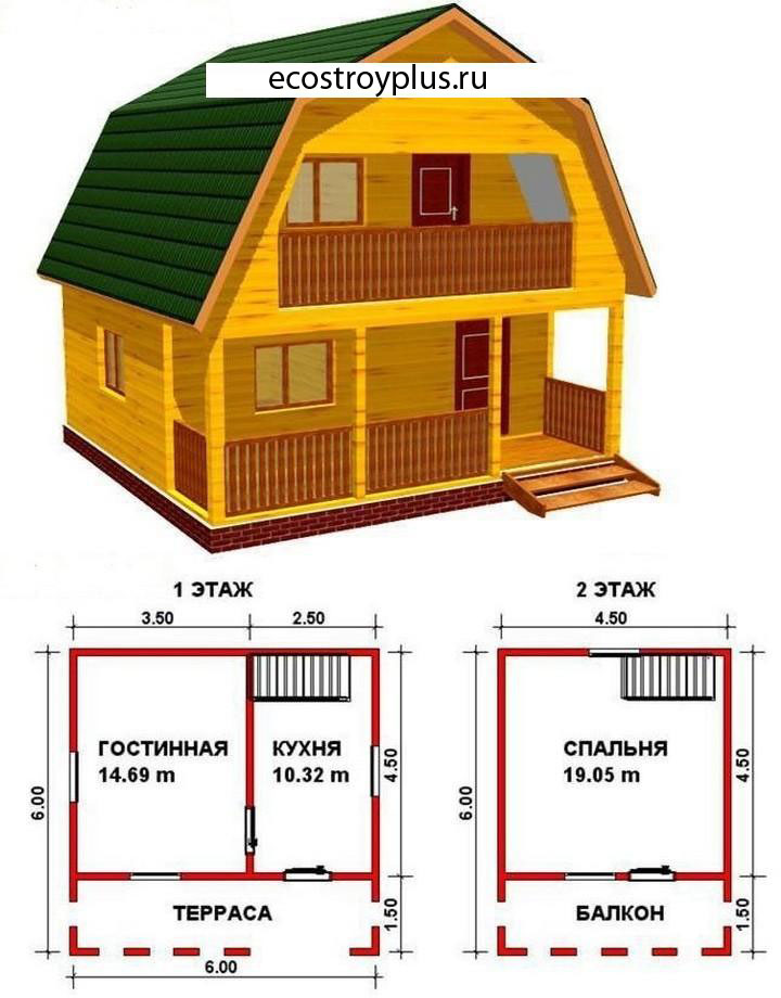Проекты домов / интересное / дом из бруса 6 x 6. проект 35 ц.